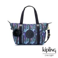 【KIPLING】渲染潑墨金點印花手提側背包-ART