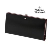 Vivienne Westwood 日本限定款! ( 黑色 × 紅色)金屬釦型 真皮 長夾 皮夾 錢包 100%全新正品 特價