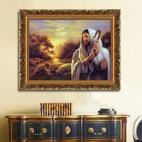 噴繪耶穌牧羊畫像油畫宗教掛畫基督教教堂壁畫客廳玄關書房裝飾畫
