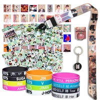 BTS Gifts Set for Army - 40Pcs BTS Map of The Soul Photocard / 12 BTS Silicone Wrisbands Bracelets/ 12 BTS Stickers/ 1 BTS Phone Ring Holder/1 BTS Lanyard/ 1 BTS Keychain