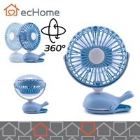 ecHome Mini USB Rechargeable Clip and Desk Portable Fan 2 in 1 360° Manual Rotation Blue