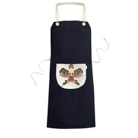 Traditional Kite Chinese Culture Pattern Cooking Kitchen Black Bib Aprons With Pocket for Women Men Chef Gifts - intl