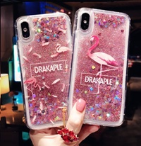 Quicksand Case For OPPO R15 R11 R11S R9 R9S Plus Cute Cartoon shine Flamingo back cover