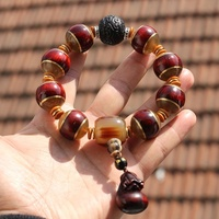 Natural 20 mm dyu rosewood inlay claw beads hand string man horn tee rosewood purse money bracelet