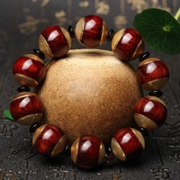 Natural red round bead dyu rosewood inlay claw men beads bracelet national wind gift hand string bag