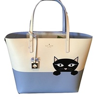 [KATE SPADE NEW YORK] Kate Spade Peeking Cat Jazz Things Up Little Len Large Tote Bag Leather