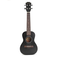24 Inch Concert Ukulele Hawaii Guitar Sapele Top Black