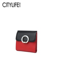 CITYLIFE Citylife Wallet Female 2018 Spring New Style Contrast Color Cowhide Short Wallet Mini Little Wallet