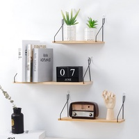 Solid Wooden Wall Mount Shelf Bracket Iron Partition Board Bedroom TV Wall Hanging Storage Shelf Rack for Home & Living Room Decoration