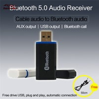 Bluetooth 5.0 Audio Receiver Stereo USB Car Adapter Cable Convertible Wireless Bluetooth 3.5MM