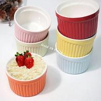 BO雜貨【SV8341】7.5CM條紋布丁盅(六色) 圓形陶瓷 布丁杯 舒芙蕾 果凍杯 醬料杯 甜品杯 冰淇淋杯 焗烤