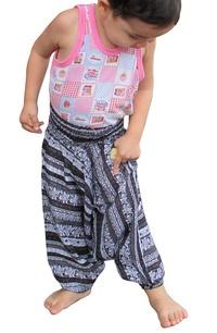 RaanPahMuang Brand Light Viscose Smock Kids Aladdin Pants Bright Prints