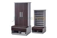 Furniture Living Tall Shoe Cabinet (Light Grey/Walnut)