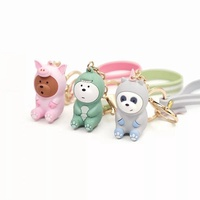 factory 1 pc new cute Three Bears grizzly panda ice bear figure keychain We Bare bears pendant figur