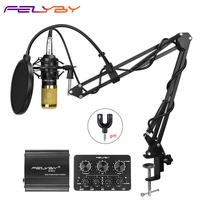 FELYBY bm 800 Profession Condenser Microphone For Computer Karaoke Video Studio Recording Mic Filter Phantom Power Sound Card