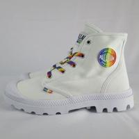 【iSport】Palladium PAMPA PRIDE 高筒靴 76521132 男女款 彩虹鞋帶 白