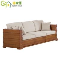 【綠家居】蕾普莉 時尚亞麻布實木三人座收納沙發椅(3人座+收納抽屜)
