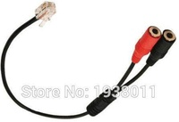 VoiceJoy Dual 3.5mm PC Female Jack to RJ9 Plug for Analog PC Headset to Telephone Headset Computer 3.5mm to RJ9 adapter
