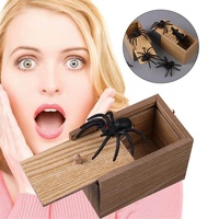 Hoopchina Scare Surprise Box with Spider Hilarious Scare Box Spider Prank Wooden Scarebox Joke Prank Box April Fools' Day Gag Gift Prank for Boys, Girls, Adults