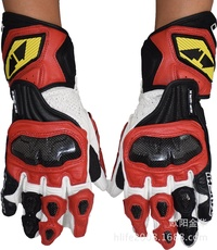 RS TAICHI NXT047 RIDERS GLOVES BLUE LEATHER TO CARBON SCREEN TRAINS(Color:Red)(Size:L)