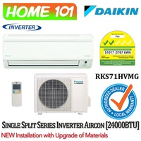 Daikin Inverter Single Split Series Aircon 24000BTU RKS71HVMG *with NEW Installation with Upgraded Materials Services*