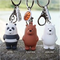 We Bare Bears Cartoon Keychain Key Ring for car or bag