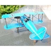 鐵皮飛機模型/德國一戰雙冀信天翁飛機 創意家居飾品(27.5*13.5*30.2cm)