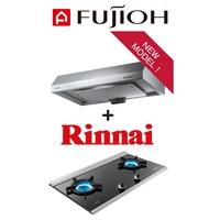 FUJIOH FR-FS1890R SLIMLINE HOOD + MADE IN JAPAN Rinnai RB-2CG Built-in 2 Burner Inner Flame Hob