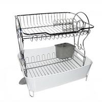 INEX水槽盤乾燥架兩層襯板餐具架,配有高毛巾盤排水杯杯架