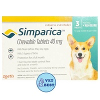 Simparica (สุนัข 10-20 กก) กำจัดเห็บ หมัด ขี้เรื้อน ไรหู (3เม็ด/กล่อง) EXP: 10/2020 +ส่ง KERRY+