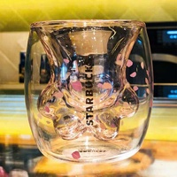 櫻花限定貓爪杯雙層貓掌杯子玻璃杯貓抓杯貓腳杯
