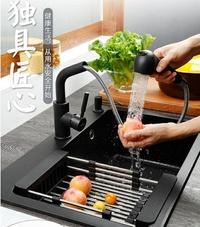 水槽-水槽 阿洛裏石英石水槽洗菜盆單槽 廚房菜盆水池家用洗碗槽花崗巖黑色