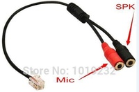 Headset buddy PC RJ9 2X3.5mm Adaptor cables Dual 3.5mm jacks to RJ9/RJ10 connector for Aastra AltiGen 3Com telephone headset