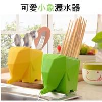 【H00958】可愛小象瀝水器 多功能花盆 筆筒收納盒 大象收納盒 創意筷子盒 餐具收納杯 牙刷架