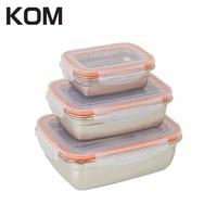 KOM 三件式不鏽鋼保鮮盒蜜桃橘-任選兩入組