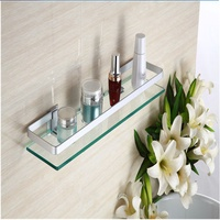 35cm Glass Bathroom Shelf Rectangle Wall Mounted Sundries Stand
