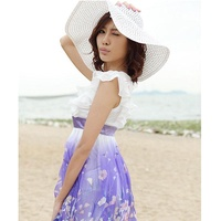 UV protection big hat leopard ribbon summer female hat beach hat big straw hat female sun hat
