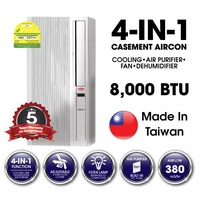 EuropAce 8000 BTU - EAC 397 4 in 1 Casement Aircon - MADE IN TAIWAN