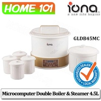 Iona Microcomputer Double Boiler and Steamer 4.5L GLDB45MC