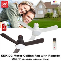 KDK DC Motor Ceiling Fan with Remote - U48FP (Available in Black / White) (1 Year Warranty)