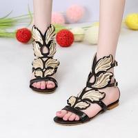 Cross-border speed sell through amazon wish LAZADA fashion wings big yards flat sandals