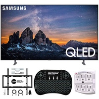 "Samsung QN55Q80RA 55"" Q80 QLED Smart 4K UHD TV (2019 Model) - (Renewed) w/Flat Wall Mount Kit Bundle for 45-90 TVs + 2.4GHz Wireless Backlit Keyboard Smart Remote + 6-Outlet Surge Adapter"