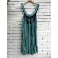 Isabelle Wen 溫慶珠 孔雀綠綴流蘇古典小洋裝