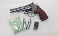 """บีบีกันปืนสั้นลูกโม่อัดแก๊ส WG701 สีเงิน ลำกล้อง 4"""" แถมฟรีแก๊สCO2+ลูกกระสุน1,000นัด"""