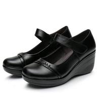 【Taroko】高貴女伶全真牛皮坡跟淑女鞋(黑色全尺碼)