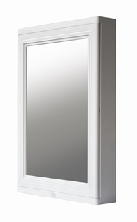 QUEEN SPACE Waterproof Bathroom Mirror Cabinet with Nano Coating - (White)