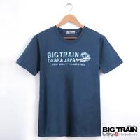 BIG TRAIN 迷彩文字圓領T-男-深藍