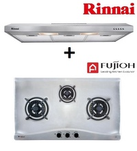 RINNAI RH-S139-SS 90CM SLIMLINE HOOD + FUJIOH FH GS 5530 SVSS 3 BURNER STAINLESS STEEL HOB WITH SAFETY DEVICE