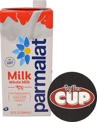Parmalat Whole Milk Shelf Stable UHT 1 Quart with By The Cup Coaster