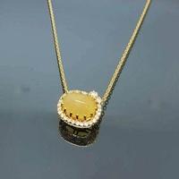 สร้อยคอโอปอลแท้ 2กะรัต (Gold Necklace / 2ct Natural Opal)